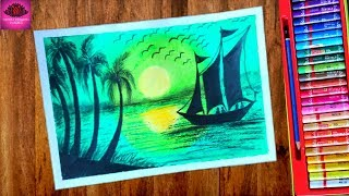 Beautiful Green Scenery Drawing for beginners with Oil Pastels - step by step