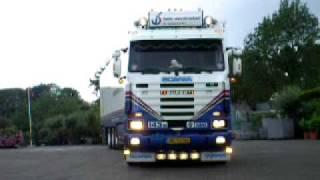 Scania 143M V8 420 Gebr v. Oirschot trekker oplegger