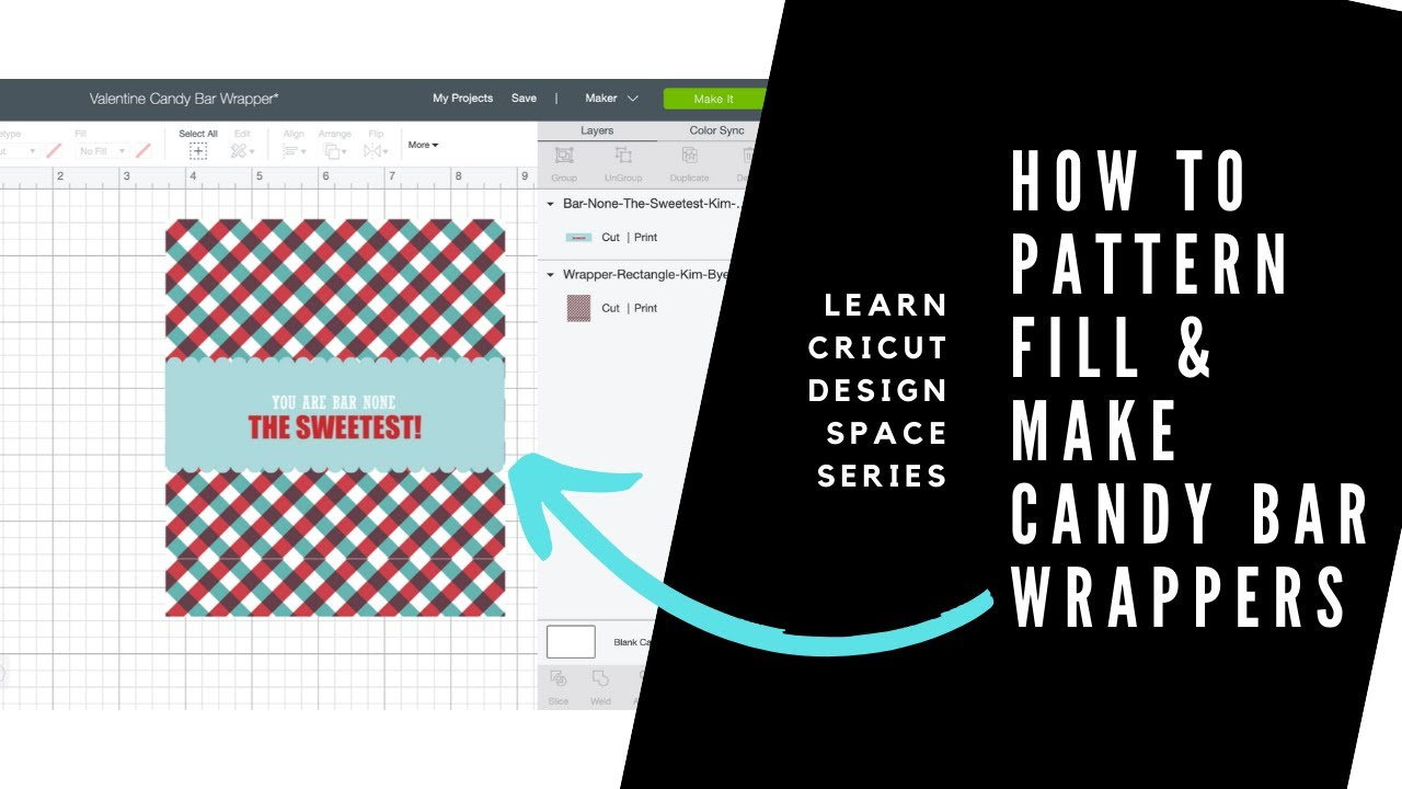 Learn Cricut Design Space - How To Pattern Fill & Make A Valentine Candy  Bar Wrapper For Candy Bar Wrapper Template Microsoft Word