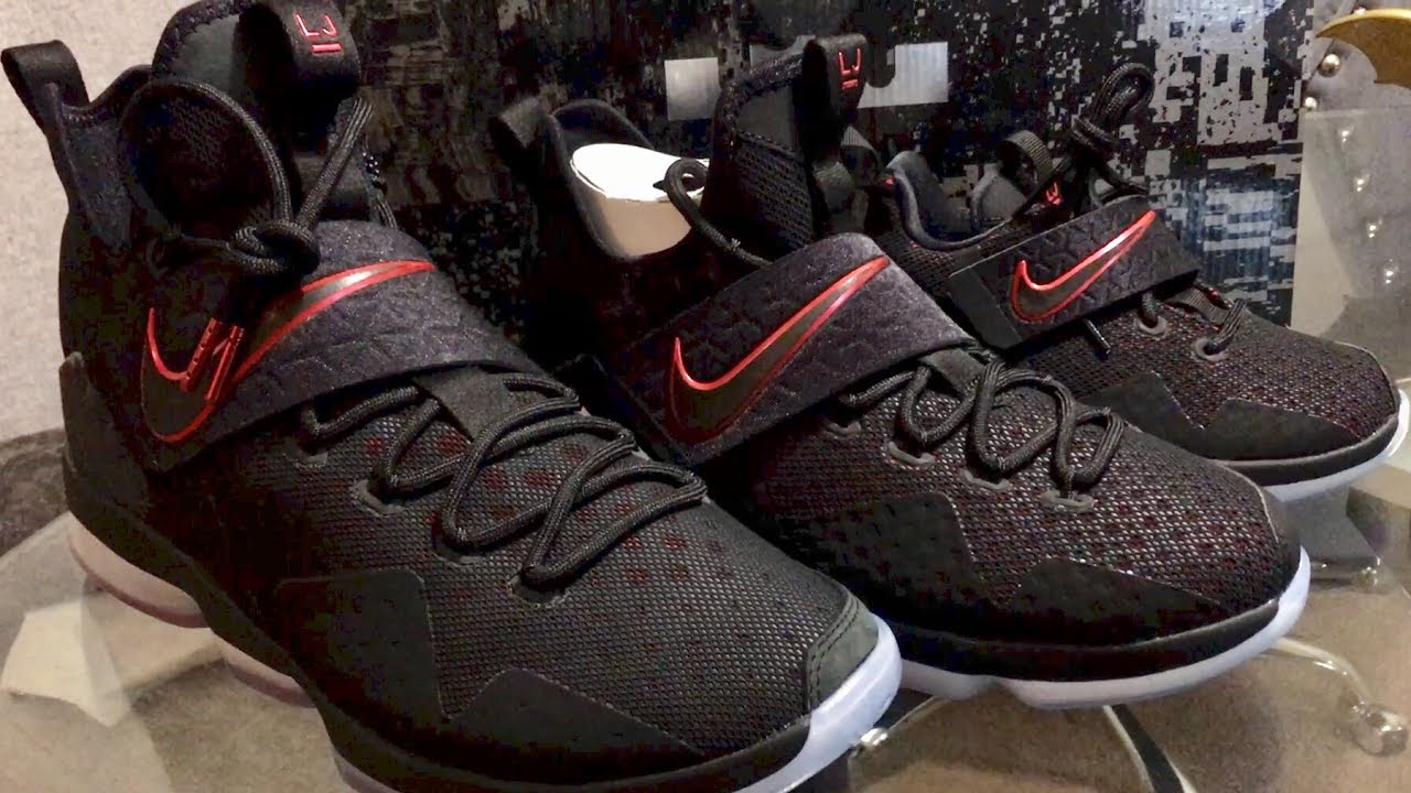 8743813c1c2 Retail Release LeBron 14 Bred Sneaker Review - YouTube