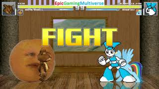 Tedi The Robotic Teddy Bear And Annoying Orange VS Jenny The Robot And Rainbow Dash In A MUGEN Match