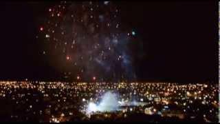 Fuegos artificiales en la clausura de los Juegos Mundiales Cali, Colombia 4 de agosto de 2013