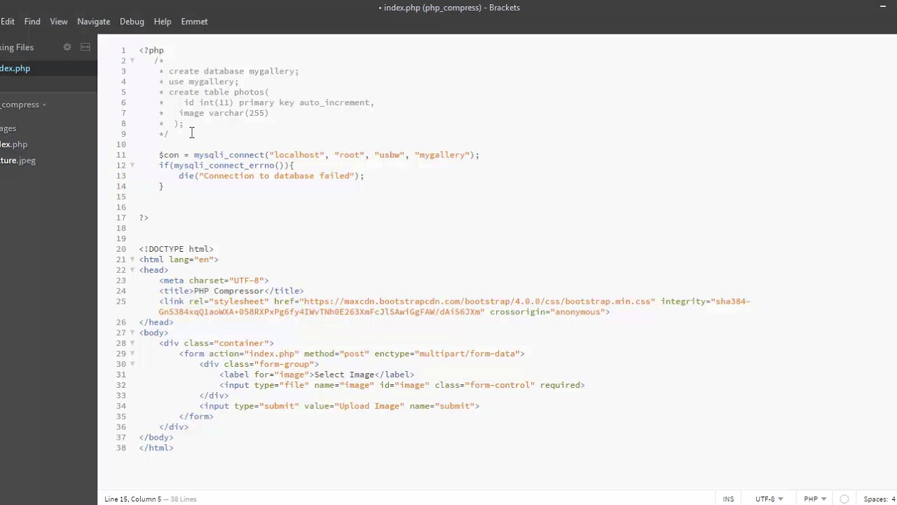 Compress and Upload Image to mysql database with PHP
