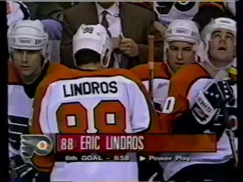 Philadelphia Flyers Eric Lindros 5th Season 1996-97 goals 1 2 3 4 5 6 7 8 9 Fights
