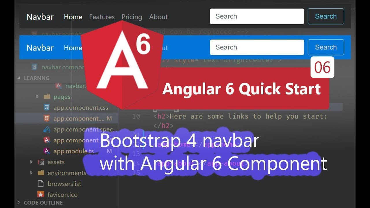 06 - Bootstrap 4 navbar with Angular 6 Component
