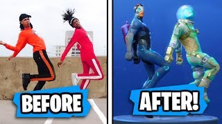 NEW Fortnite Season 4 DANCES in REAL LIFE!! (HYPE, MEME KID & POPCORN!)