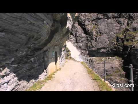 Mauvoisin dam lake and waterfalls