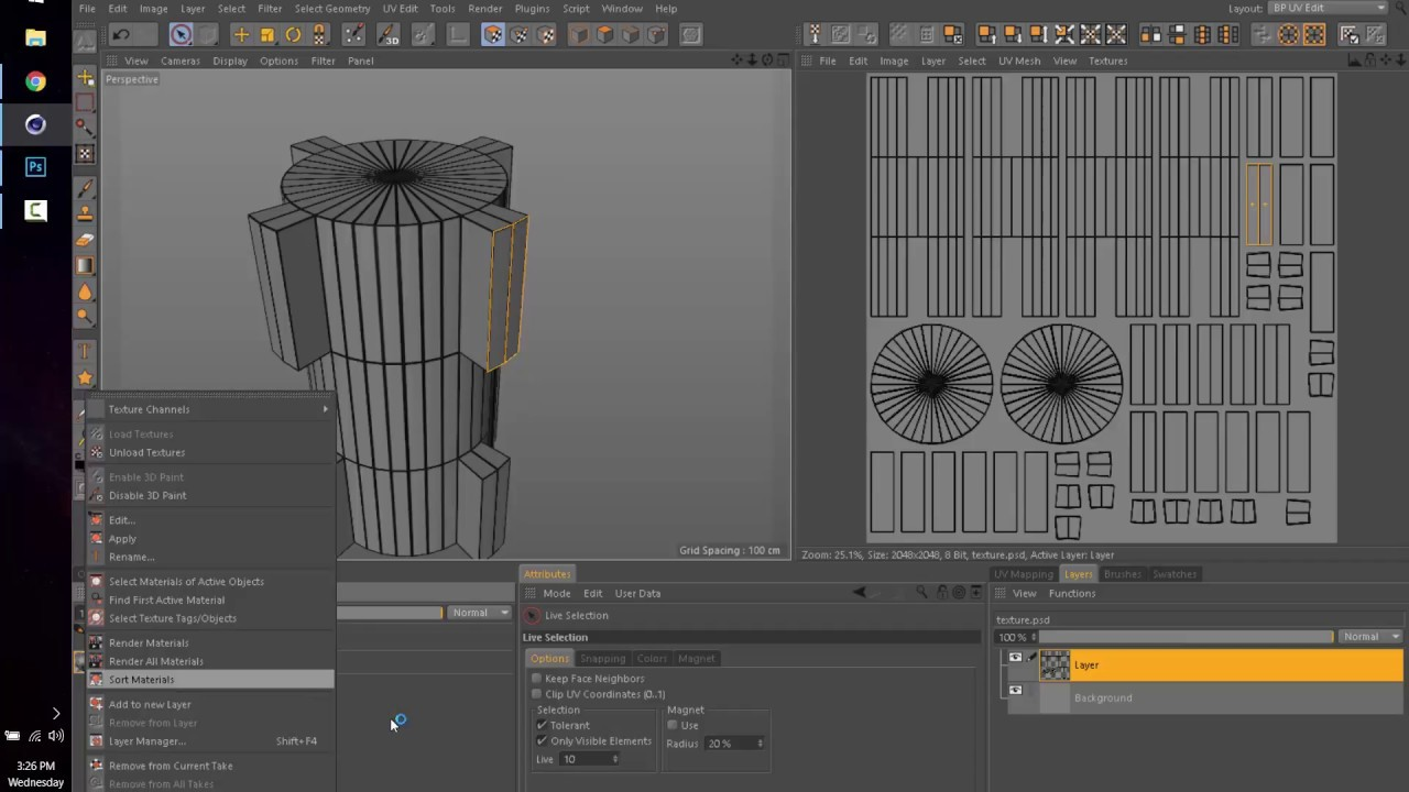 C4D basic tutorial, export UV template to Photoshop for editing