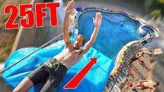 Slip N Slide off 25FT TOWER in LEGO POOL!