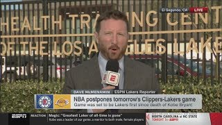 Dave McMenamin reacts to Lakers statement on Kobe Bryant's death