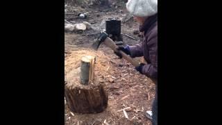 84 years old Russian Babushka and chopping WOOD!!