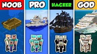 NOOB vs PRO vs HACKER vs GOD : FAMILY BOAT HOUSE in Minecraft! (Animation)