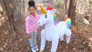 In this video we find a pretend giant magical unicorn in our back y...