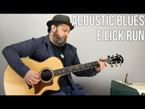 Acoustic Blues Guitar Lesson - Open Positon E Run and Licks