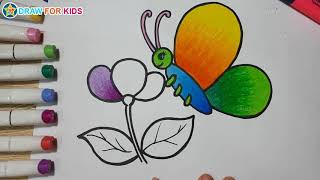 Coloring a Butterfly and Flower    Draw For Kids
