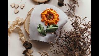 ☀️Подсолнух. Вышивка лентами для начинающих пошагово / Sunflower from satin ribbon