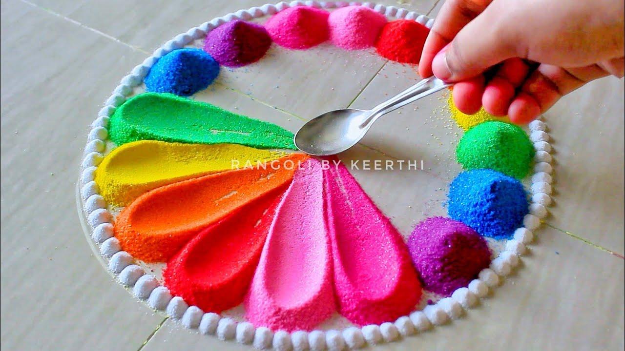 Simple rangoli design spoon l unique rangoli designs l easy rangoli designs with colours l रंगोली