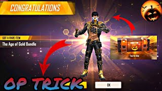 THE AGE OF GOLD BUNDLE FREE IN FREEFIRE || TRICK TO GET DIAMOND ROYAL BUNDLE IN ONE SPIN