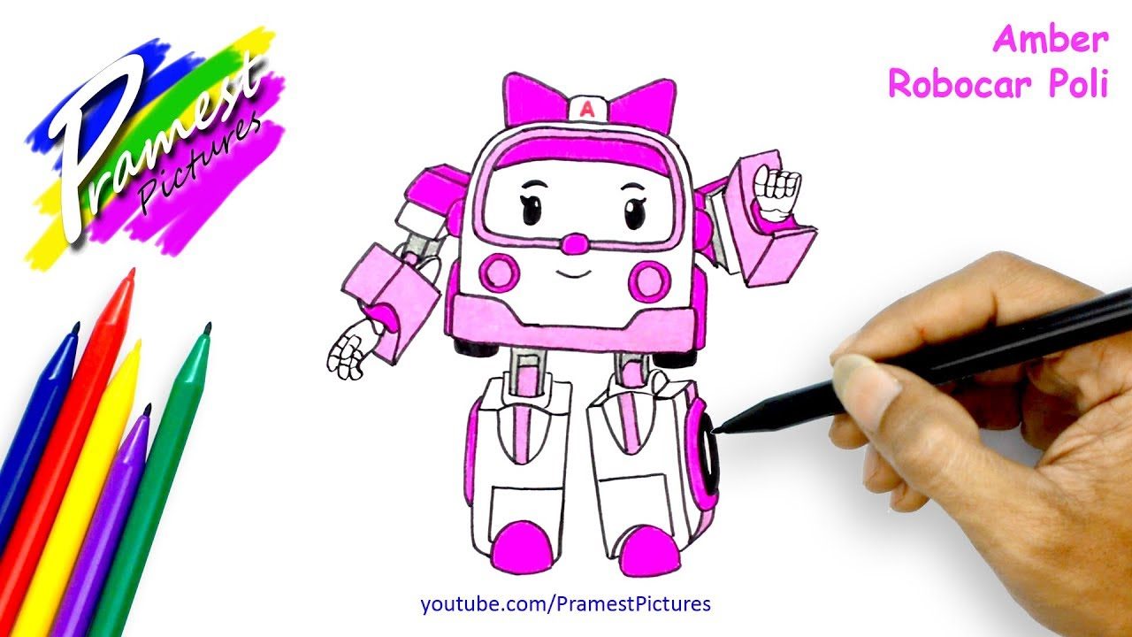 How To Draw Amber Robocar Poli Coloring Pages For Kids
