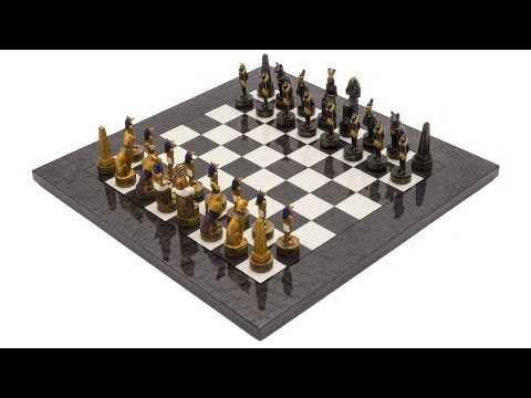 The Ancient Egypt Hand Painted Themed Luxury Charcoal Chess Set By Italfama [RCPB429]