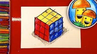 Как нарисовать КУБИК РУБИКА урок рисования пастелью для детей