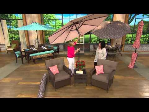 ATLeisure 9' Crank & Tilt Floral Market Umbrella w/ 2 Pillow Covers with Antonella Nester