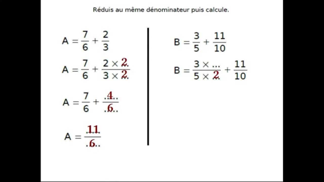 Additionner et soustraire des fractions de dénominateurs ...