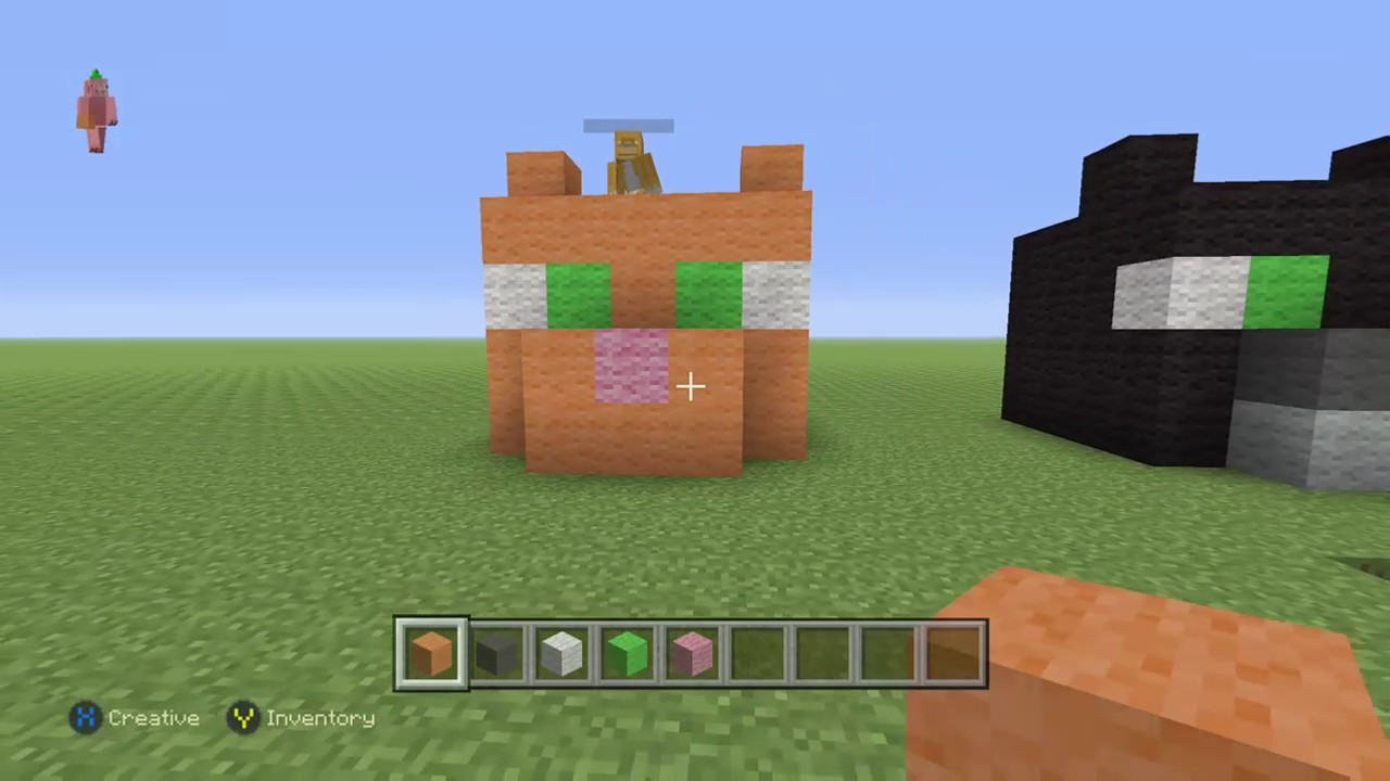 How to build a minecraft cat head 3 youtube for How to build a cat