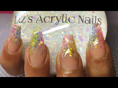Acrylic Nails | Indian Summer | Galaxy Holo Flakes