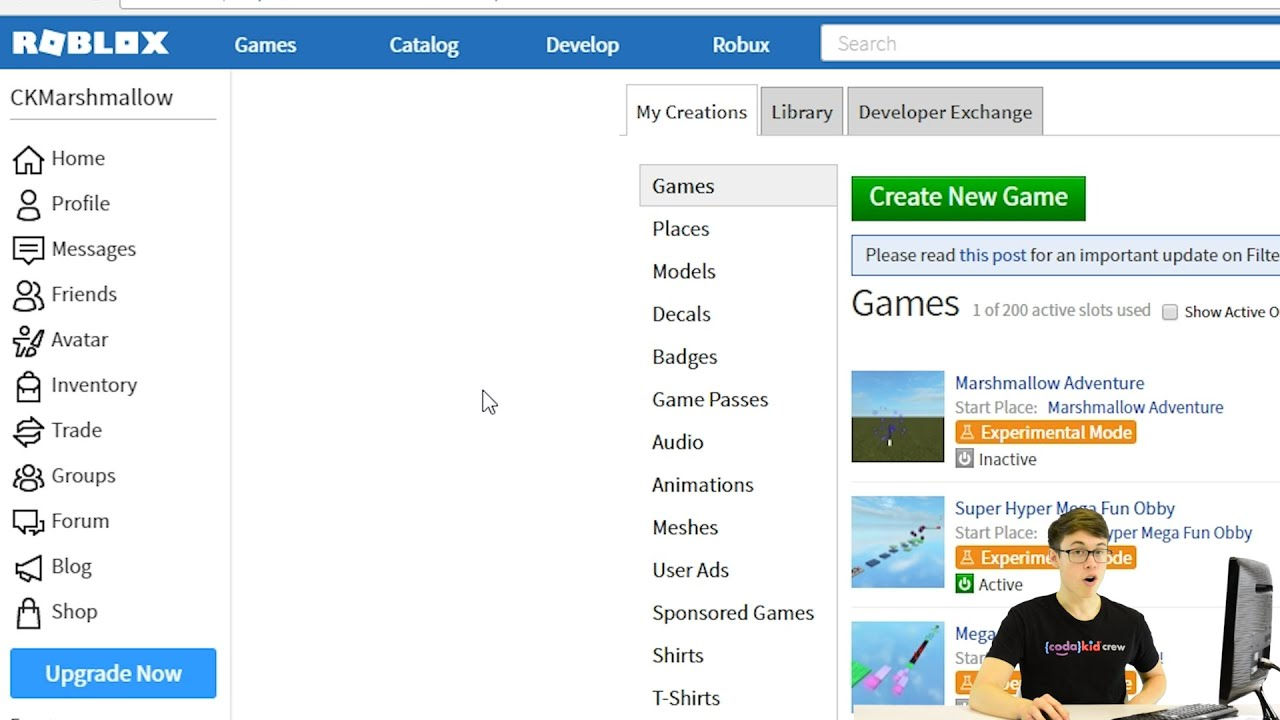 Make A Game On Roblox Studio Codakid S Super Awesome Obby