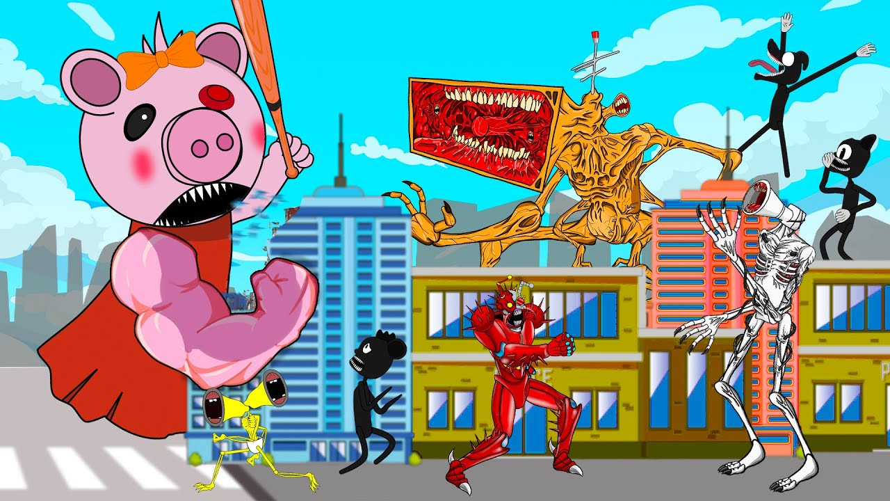 Download Mega Siren Head, Mega Phone, Cartoon Dog Vs Giant Piggy | Roblox Piggy Animation | GV Studio