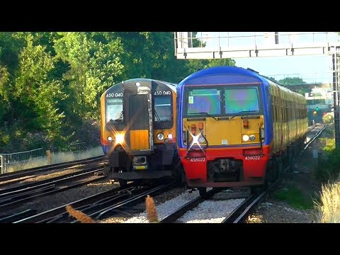 Trains at Berrylands, South Western Main Line (Rush Hour)  - 10/07/17