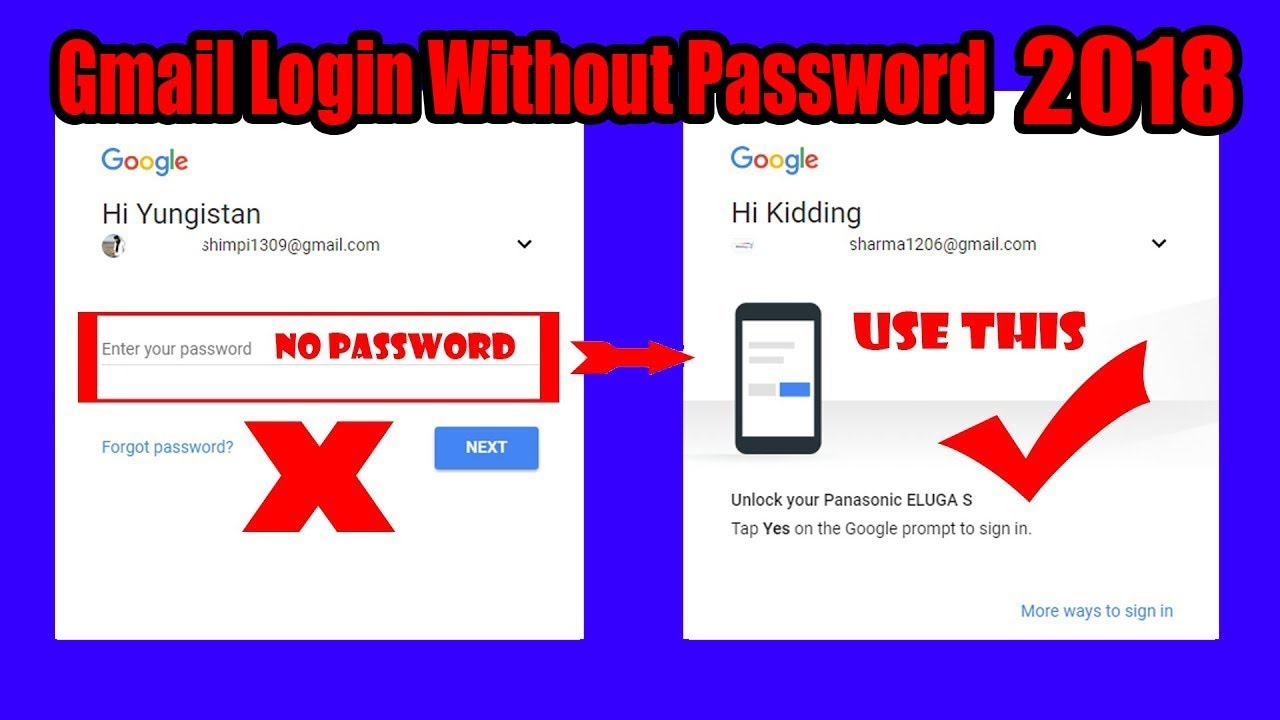 How to Login Gmail Account Without Password 2018!