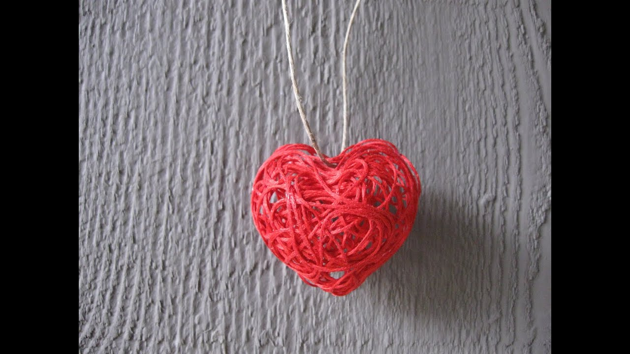 Valentine S Day String Heart Craft Tutorial Youtube