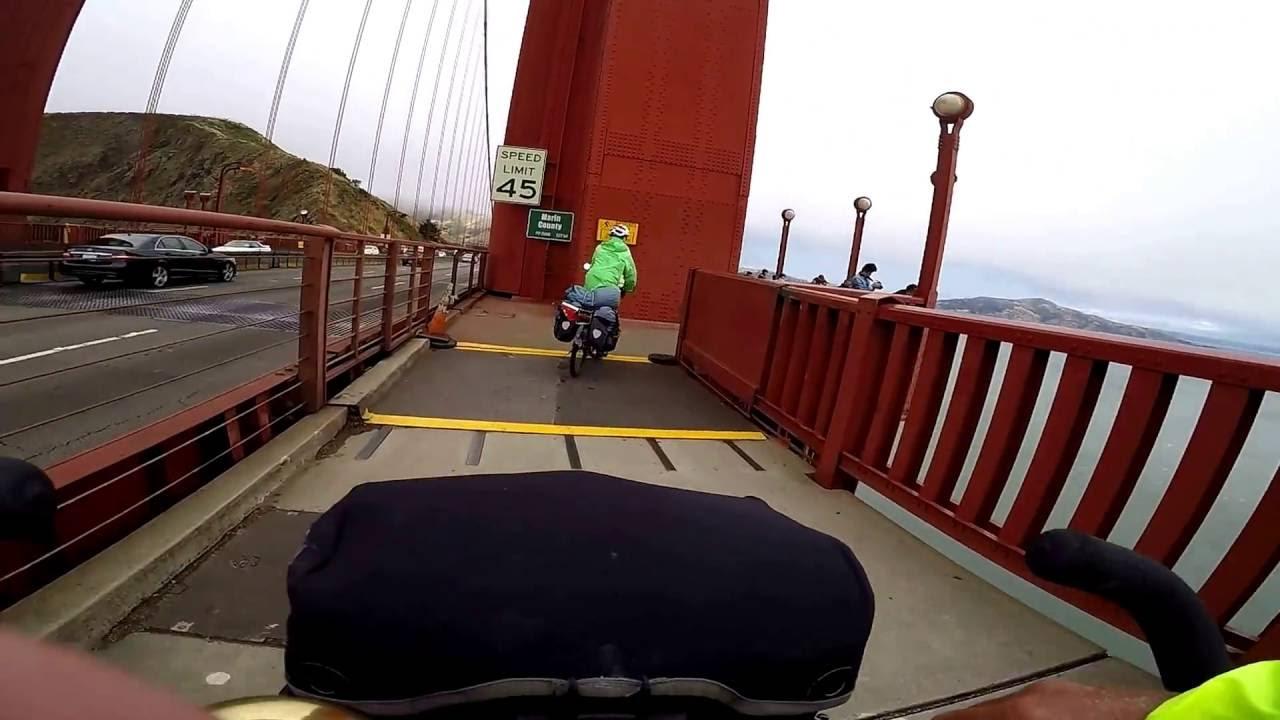 mit dem fahrrad ber die golden gate bridge san francisco youtube. Black Bedroom Furniture Sets. Home Design Ideas