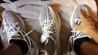 Adidas yeezy boost 350 v2 zebra black white and red size 13 vs 14
