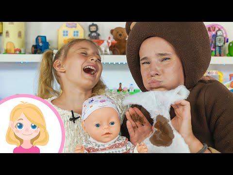 Нянчим малыша - Маленькая Вера и Медведь как мама