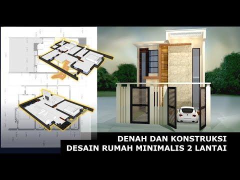 Denah dan Konstruksi - Desain Rumah Minimalis 2 Lantai #L2M117
