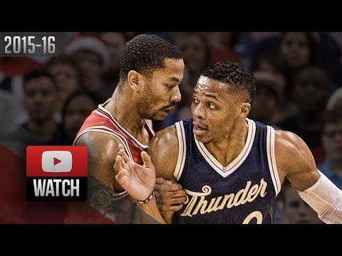 Derrick Rose vs Russell Westbrook PG Duel Highlights (2015.12.25) Thunder vs Bulls - SICK!