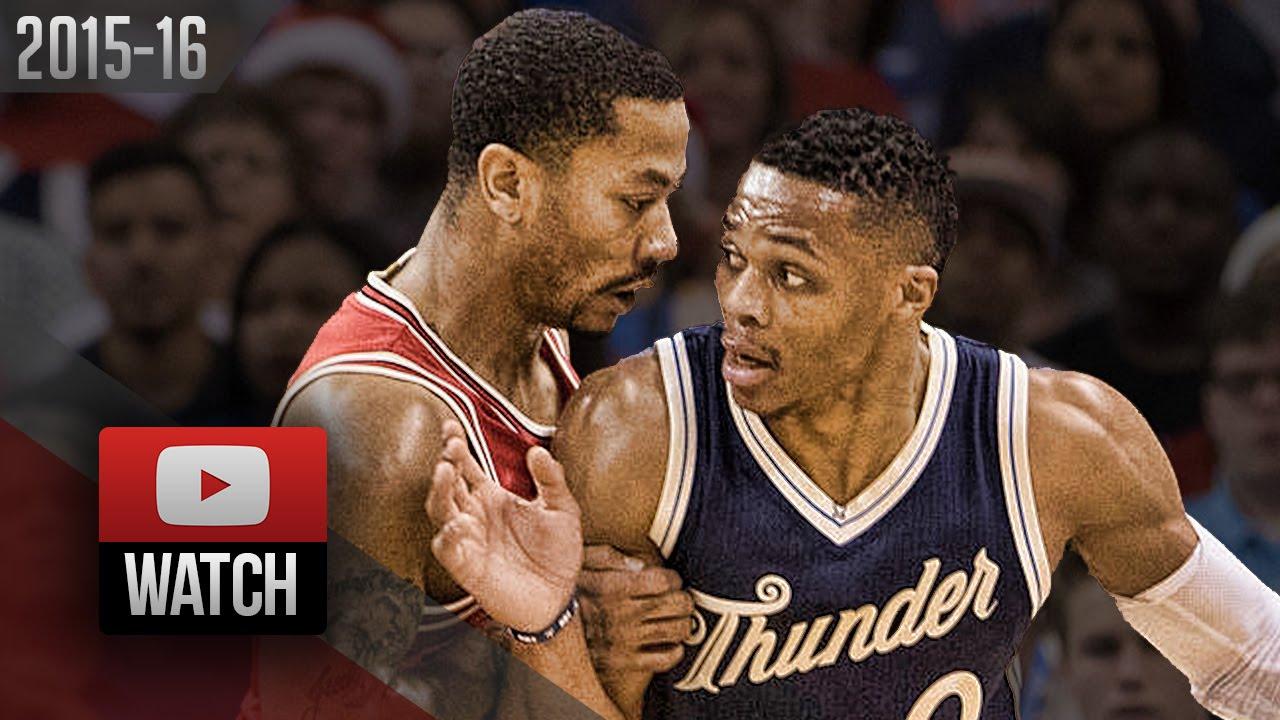 new concept bb51a d5de0 Derrick Rose vs Russell Westbrook PG Duel Highlights (2015.12.25) Thunder  vs Bulls - SICK!