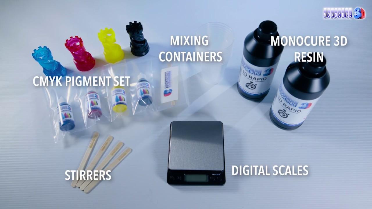 Monocure 3D - CMYK Pigment Tutorial - YouTube