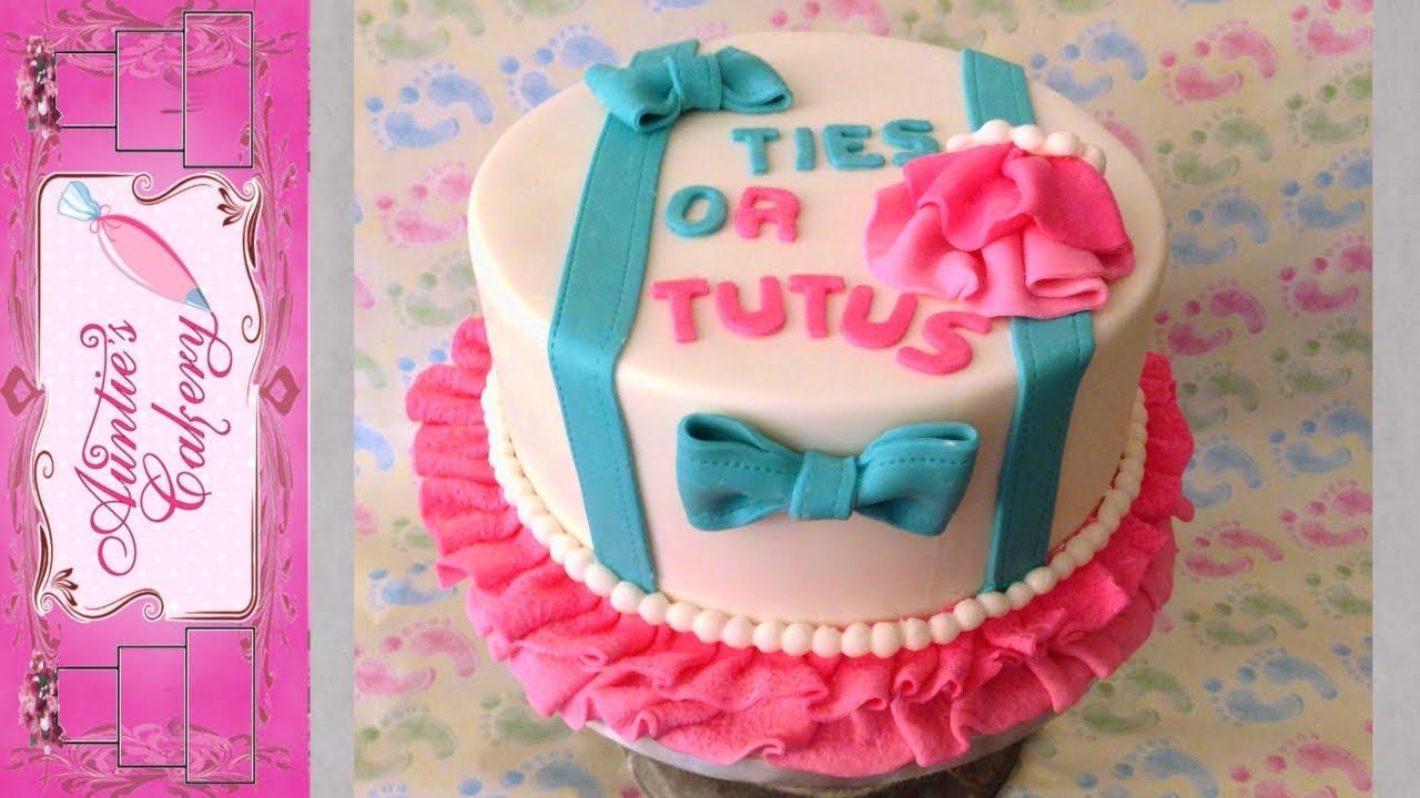 Gender Reveal Ties Or Tutus Cake