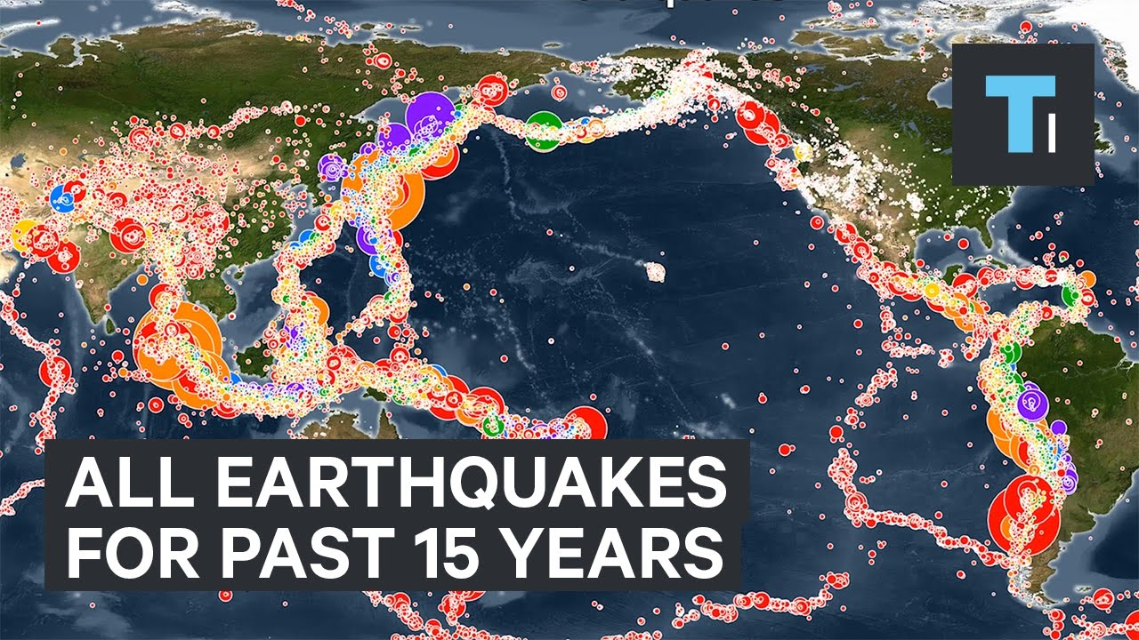 animated map all earthquakes of the past 15 years youtube