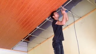 How to Install Plastic Panels On The Ceiling - Easy Installation Pvc Ceiling Panel