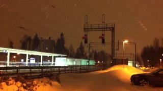 [VR] Night express train nr. P 273 from Helsinki to Rovaniemi accelerating in slight snowfall...