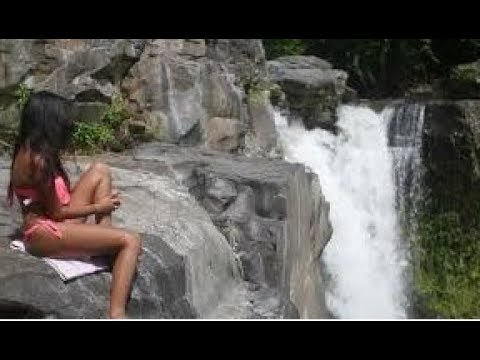 Bikini Girls On Sharp Rocks Crossing Dominica Boiling Lake TiTou Gorge In Caribbean Island