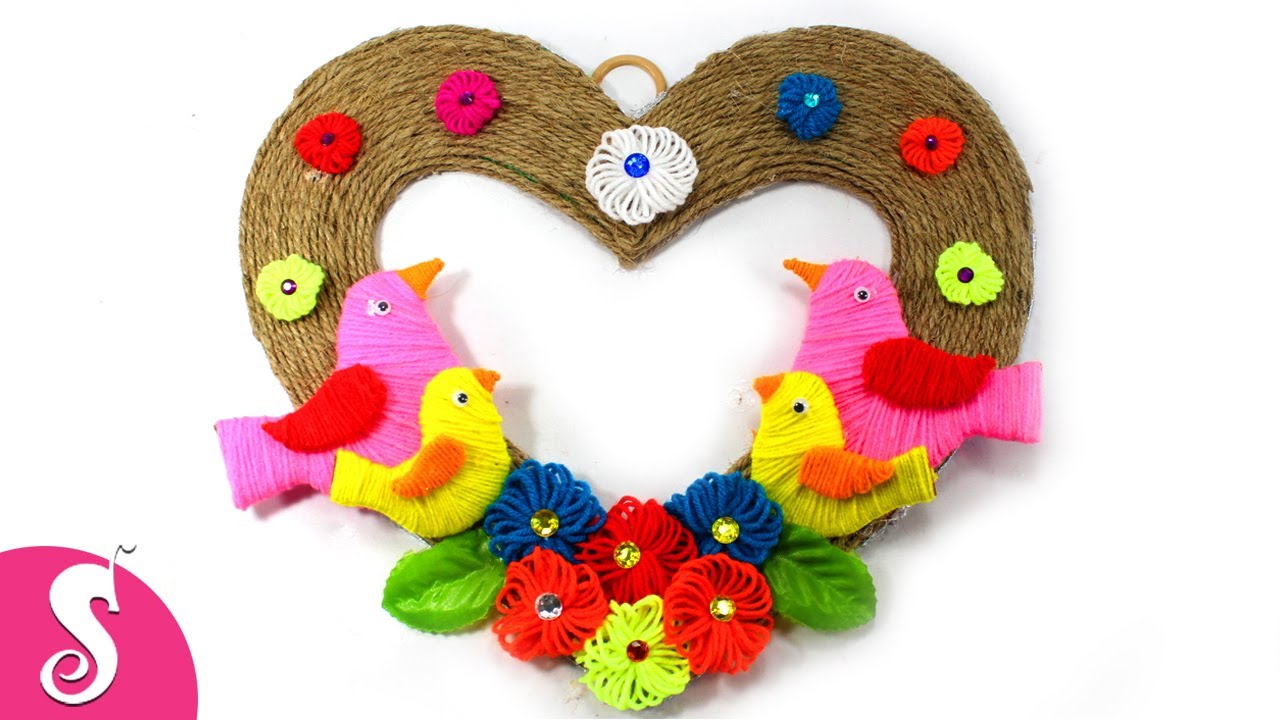 Woolen Birds Wall Showpiece From Jute Wall Decoration