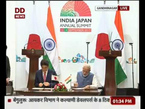 PM Modi and Japanese PM Shinzo Abe at signing of agreements & joint press statement