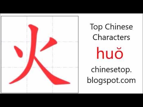Chinese Character Hu Fire With Stroke Order And Pronunciation