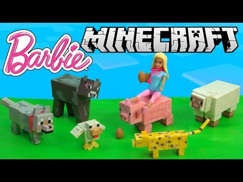 Barbie Mini Doll Vet Plays With Minecraft Animal Toys Series #2 Animal Mobs Game Pack Cookieswirlc